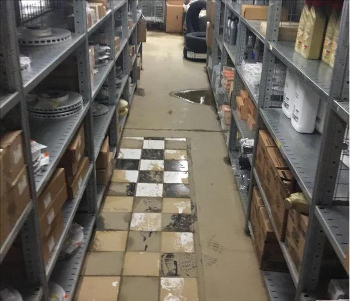 water and mud in storage room at business